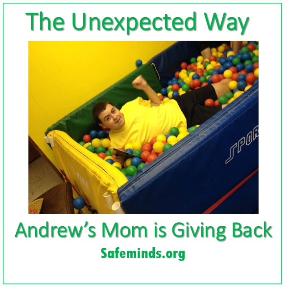 ending another to my friend's husband who stood between me and my raging son at an autism-friendly Broadway Play concession stand during intermission last week, letting Andrew dig his nails into his arm, before managing to calm Andrew down.""